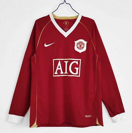 Camisa Manchester United 2006-2007 (Home-Uniforme 1) - Manga Longa
