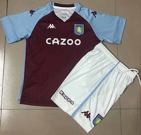 Conjunto Infantil (Camisa + Shorts) Aston Villa 2020-2021 (Home-Uniforme 1)