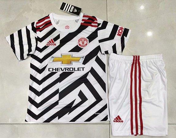 Conjunto Infantil (Camisa + Shorts) Manchester United 2020-2021 (Third-Uniforme 3)