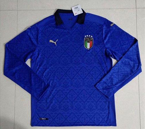 Camisa Itália 2020-21 (Home-Uniforme 1)- manga longa
