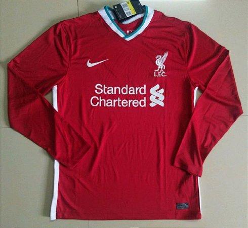 Camisa Liverpool 2020-21 (Home-Uniforme 1) - manga longa
