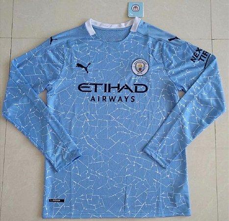 Camisa Manchester City 2020-21 (Home-Uniforme 1) - manga longa