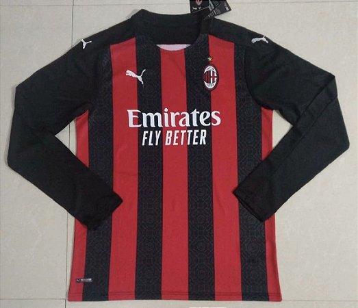 Camisa Milan 2020-21 (Home-Uniforme 1) - manga longa