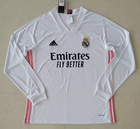 Camisa Real Madrid 2020-21 (Home-Uniforme 1) - manga longa