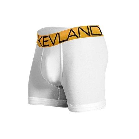 Cueca Boxer Kevland Microfibra Branca Elástico Dourado