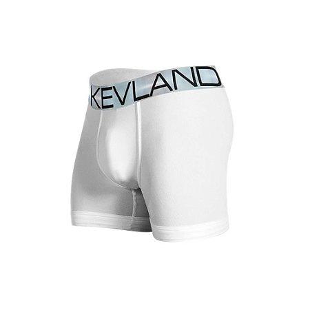 Cueca Boxer Kevland Microfibra Branca Elástico Prata