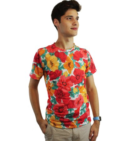 camiseta dionisio collection floral laranja