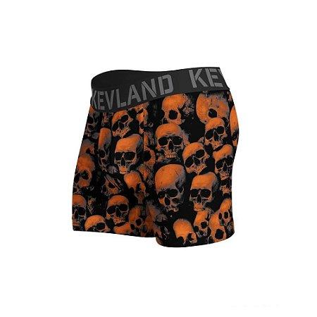 cueca boxer kevland orange skulls laranja