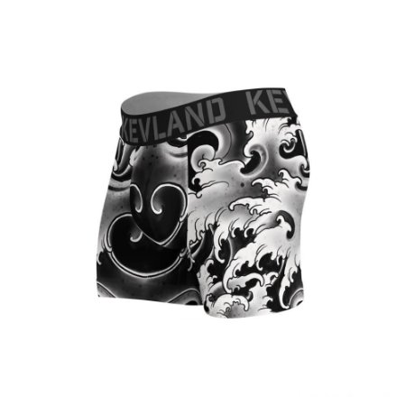 cueca boxer kevland black waves preto