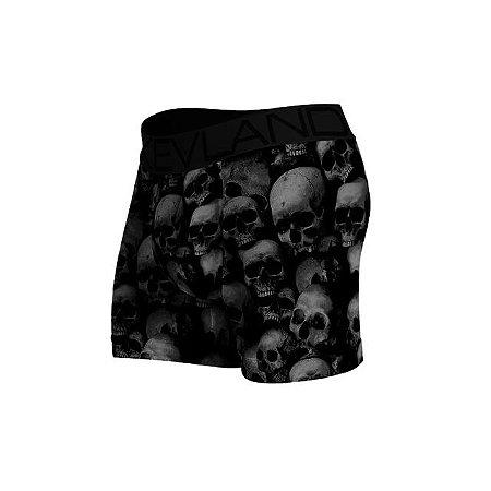 Cueca Boxer Kevland Black And White Skulls