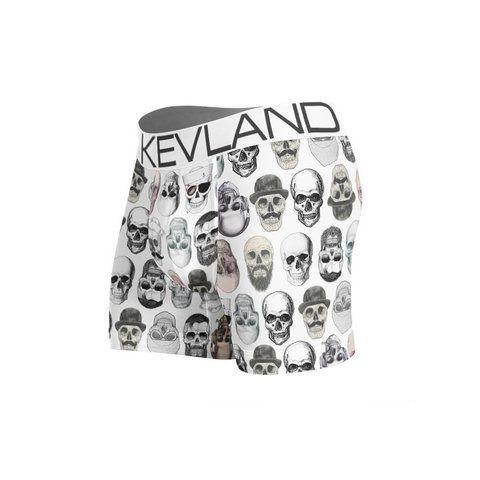 Cueca Boxer Kevland Simple Skulls White