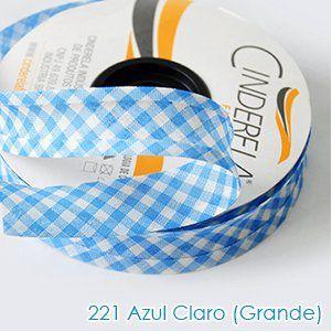 VIES XADREZ 20 METROS X 25MM CINDERELA - COR 221-AZUL CLARO