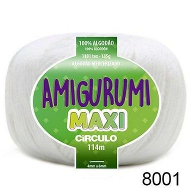 FIO AMIGURUMI MAXI 135 GR 114 MTS COR 8001 BRANCO