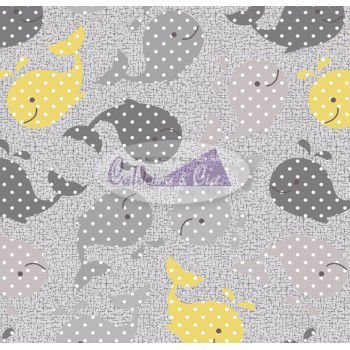 Tecido Estampado Baleinha cor - 04 (Cinza com Amarelo) MEDIDAS 0,40X1,50 MTS