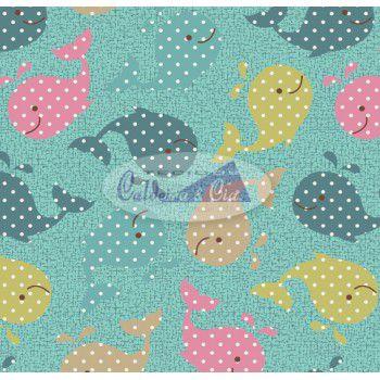 Tecido Estampado Baleinha cor - 05 (Tiffany com Rosa) MEDIDAS 0,40X1,50 MTS