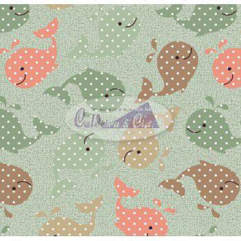Tecido Estampado Baleinha cor - 07 (Verde) MEDIDAS 0,40X1,50 MTS