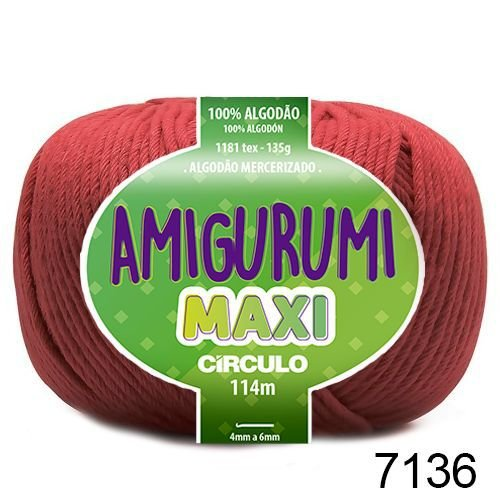 FIO AMIGURUMI MAXI 135 GR 114 MTS COR 7136 MARSALA