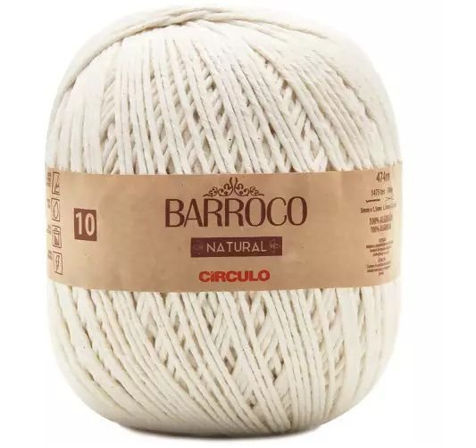 BARBANTE BARROCO N10 NATURAL COR 0020 474 MTS