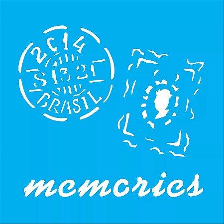 ESTENCIL 14X14 MEMORIES SELOS OPA1369