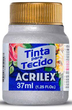 TINTA PARA TECIDO ACRILEX METALICA PRATA 37 ML