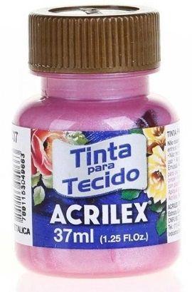TINTA PARA TECIDO ACRILEX METALICA ROSA 37 ML