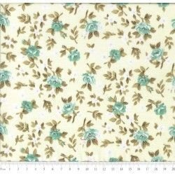 Tricoline Caldeira Estampado Florido Lúcia Cor 04 - amarelo com Turquesa- Medidas 0,40x1,50