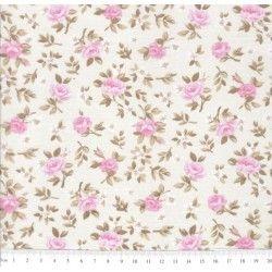 Tricoline Caldeira Estampado Florido Lúcia Cor 09 - Crú com Rosa - Medidas 0,40x1,50