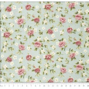 Tricoline Caldeira Estampado Florido Lúcia Cor 02 - Floral Verde Seco- Medidas 0,40x1,50