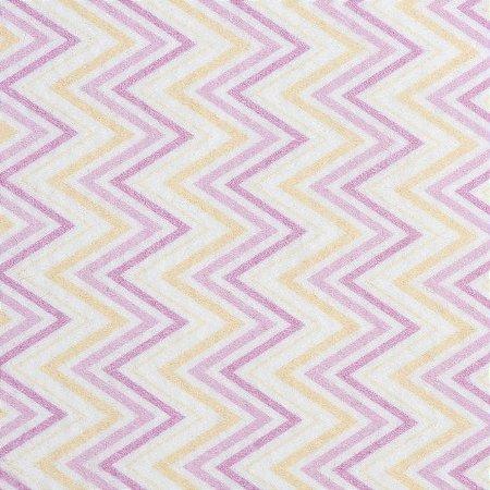 Feltro Color Baby Chevron santa fé - cor 5051016 Amarelo e Pink - Medidas 0,40x1,40