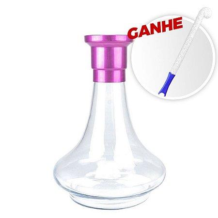 Vaso MDI Genie 26CM Liso Rosa + Brinde Escova Para Vaso