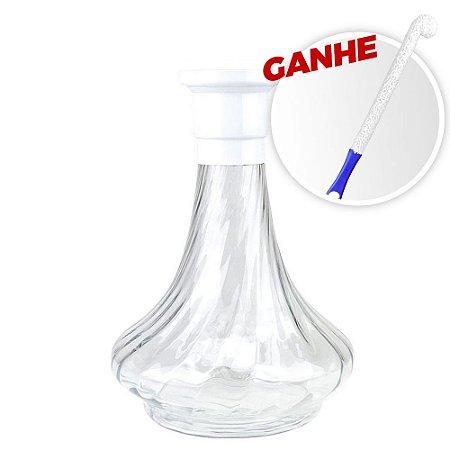 Vaso MDI Genie 26CM Rigado Branco + Brinde Escova Para Vaso