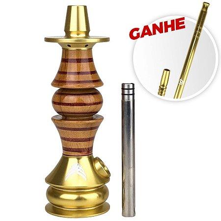 Stem Narguile Marajah Umbrella Nano Dourado/Vermelho Stripes + Brinde Piteira ZH