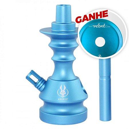 Stem Narguile Anubis Little Monster Velvet Azul Claro + Brinde Prato Anubis