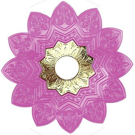Prato EBS Hookah One M 22cm - Rosa Claro/Dourado