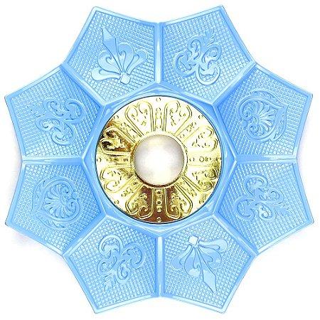 Prato EBS Hookah New Lotus G 27cm - Azul Claro/Dourado