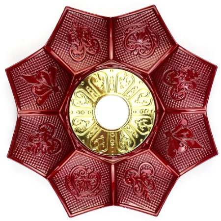 Prato EBS Hookah New Lotus G 27cm - Vermelho/Dourado