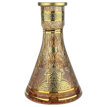 Vaso Bohemian Egermann Tower Knight Shield 26cm - Champagne