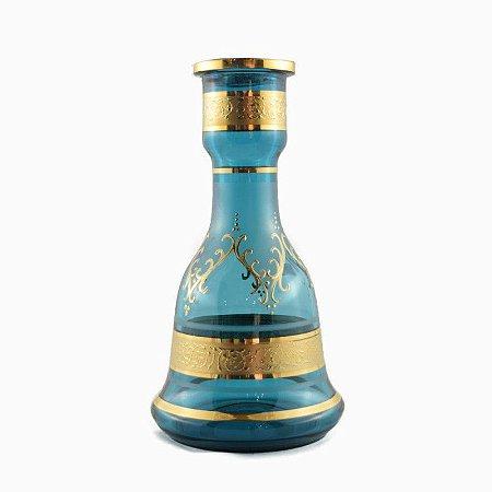 Vaso Bohemian Egermann Sino 1001 Noites 26cm Light Blue