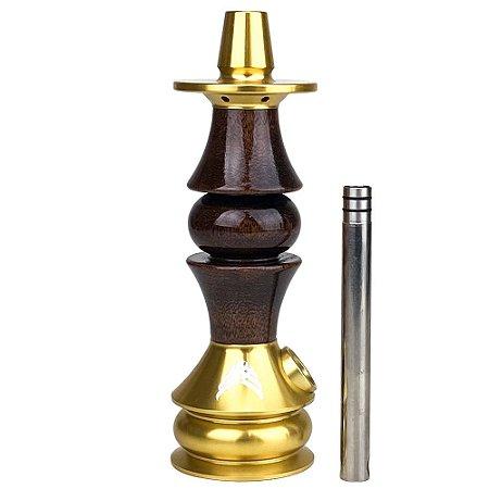 Stem Narguile Marajah Hookah Umbrella Nano Dourado/Marrom Brilhante