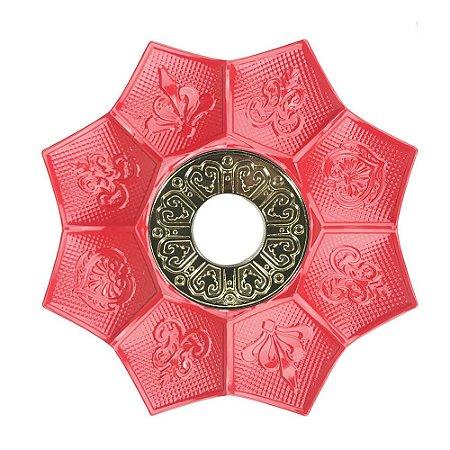 Prato EBS Hookah New Lotus P 18cm - Vermelho/Dourado