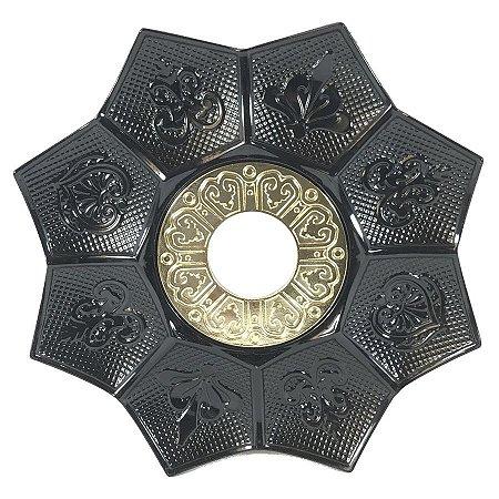 Prato EBS Hookah New Lotus G 27cm - Preto/Dourado