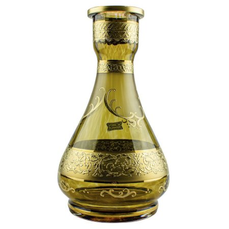 Vaso Bohemian Egermann Teardrop 1001 Nights 30cm - Old Gold