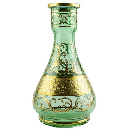 Vaso Bohemian Egermann Teardrop Tribal 30cm - Moss Green