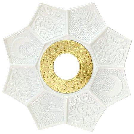 Prato EBS Hookah Zamac Lotus M 22cm - Branco/Dourado