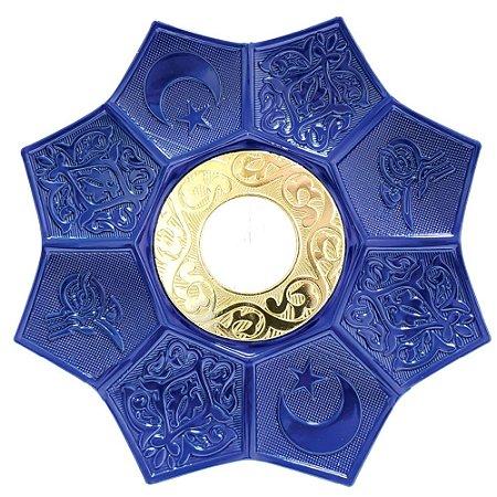 Prato EBS Hookah Zamac Lotus M 22cm - Azul Escuro/Dourado