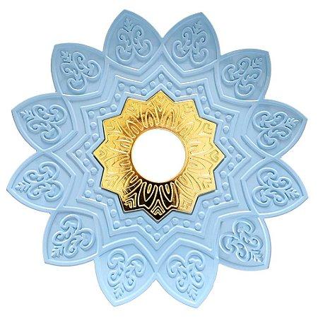 Prato EBS Hookah One P 18cm - Azul Bebê/Dourado