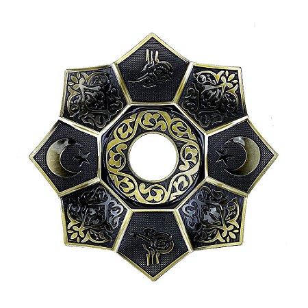 Prato EBS Hookah Zamac Lotus M 22cm - Dourado Velho