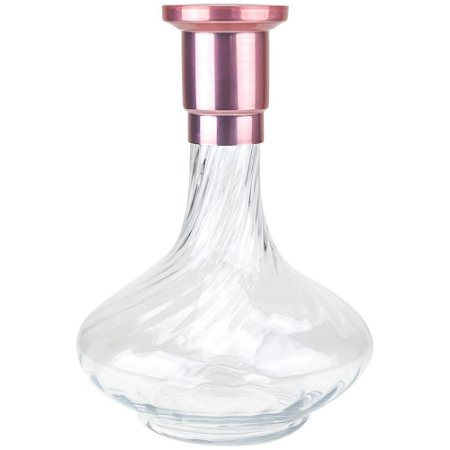 Vaso ZH Genie 30cm Rigado - Rosê/Clear
