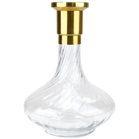 Vaso ZH Genie 30cm Rigado - Dourado/Clear