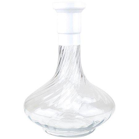 Vaso ZH Genie 30cm Rigado - Branco/Clear
